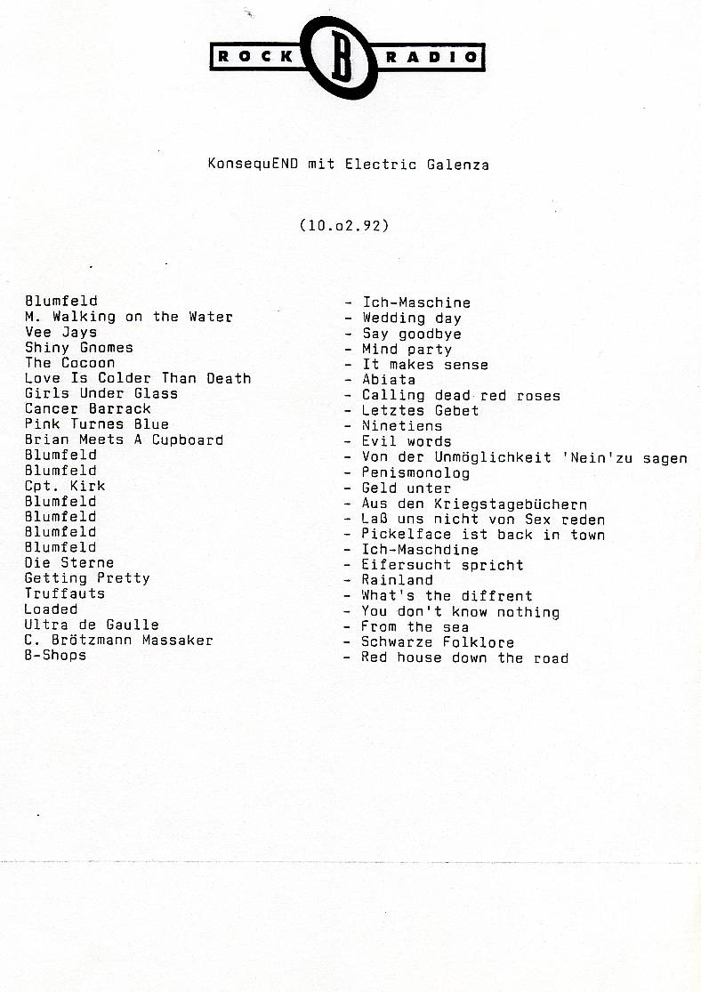 KonsequEnd, 10. Februar 1992