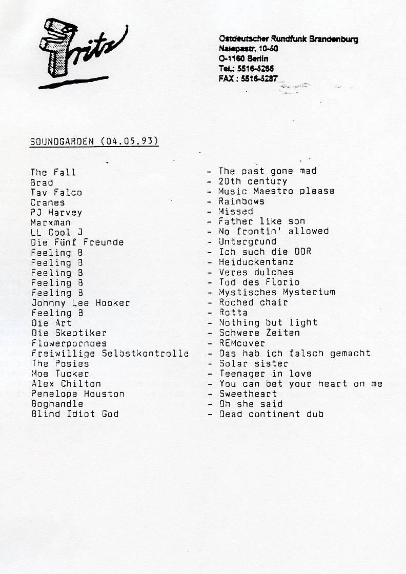 Soundgarden 4. Mai 1993